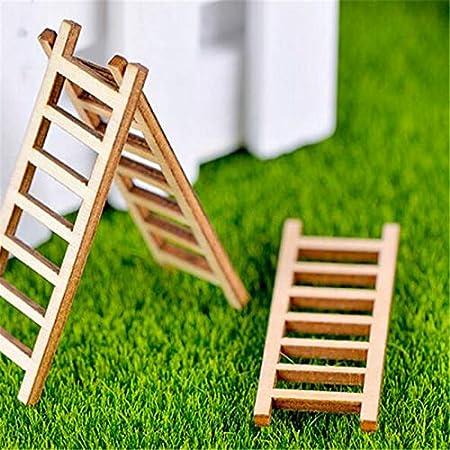 Ochoos 2 Piezas de Madera pequeña Escalera Micro Paisaje DIY hogar jardín decoración Accesorios Miniatura Estatua Manualidades Adornos: Amazon.es: Hogar