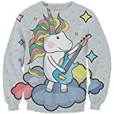 EnlaMorea Kids' Casual Unicorn Hoodie Sweatshirt for Boys Girls,Music Unicorn,11-12 Years