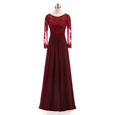 ab6aa50be810 MEILISAY Women's Applique Evening Formal Gowns with Long Sleeves Beaded Empire  Mother of The Bride Dresses