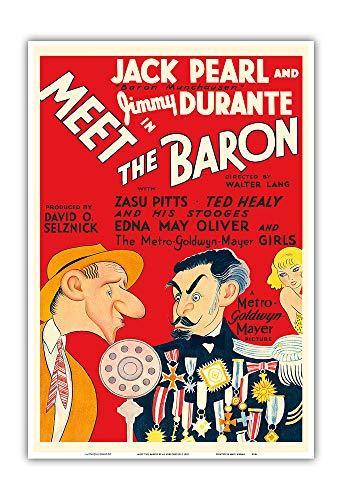 - Meet The Baron - Starring Jimmy Durante, Jack Pearl - Vintage Film Movie Poster by Al Hirschfeld c.1933 - Master Art Print 13in x 19in