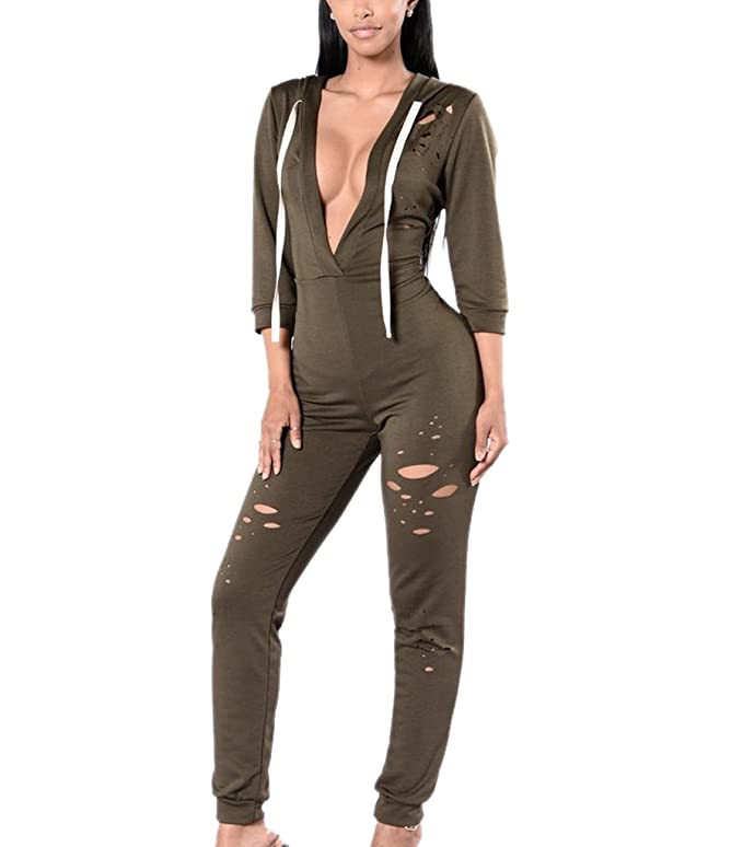 ab355ec8349 Amazon.com  Sumtory Women Plus Size Sexy Deep V Neck 3 4 Sleeve Long Pant  Jumpsuits Rompers  Clothing