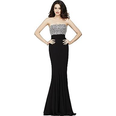 Jovani Rhinestone Strapless Formal Dress Black 4