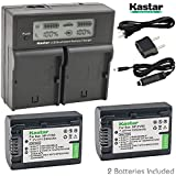 Kastar LCD Dual Fast Charger + 2X Battery for Sony NP-FV50 NP-FV40 NP-FV30, AX53 CX675/B CX220 CX230 CX290 CX330 CX380 CX430V CX900 PJ200 PJ230 PJ340 PJ380 PJ430V PJ540 PJ650V PV790V PJ810 TD30V AX100