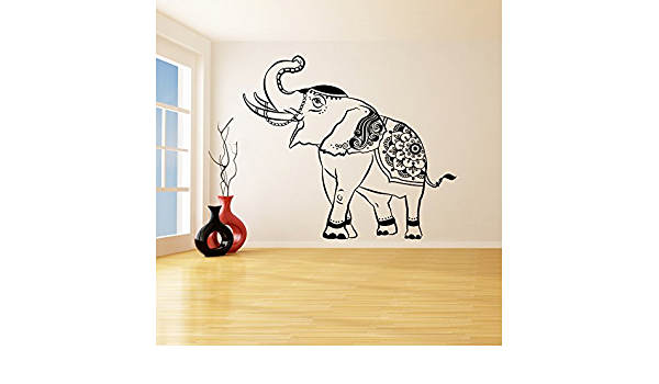 Amazon Com 94 X 82 Vinyl Wall Decal Lucky Elephant Trunk Up Thailand Wise Wealth Animal Art Home Sticker Thai Feng Shu Mural Free Random Decal Gift Kitchen Dining