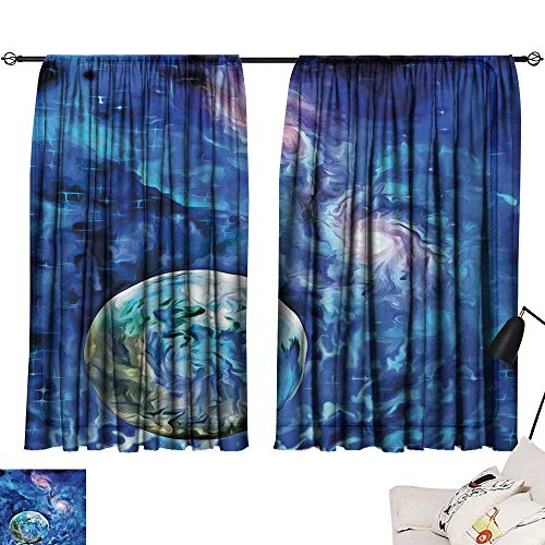 Davishouse Constellation Insulated Sunshade Curtain Exo Solar Planet Painting Style Vibrant Universe Awesome Space Noise Reducing