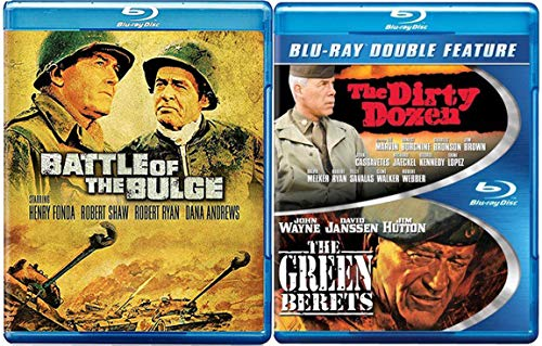 Green Battle Blu Ray 3 Movie The Dirty Dozen / Green Berets + Battle of the Bulge Military War Action Classic Films Triple Feature Bundle -