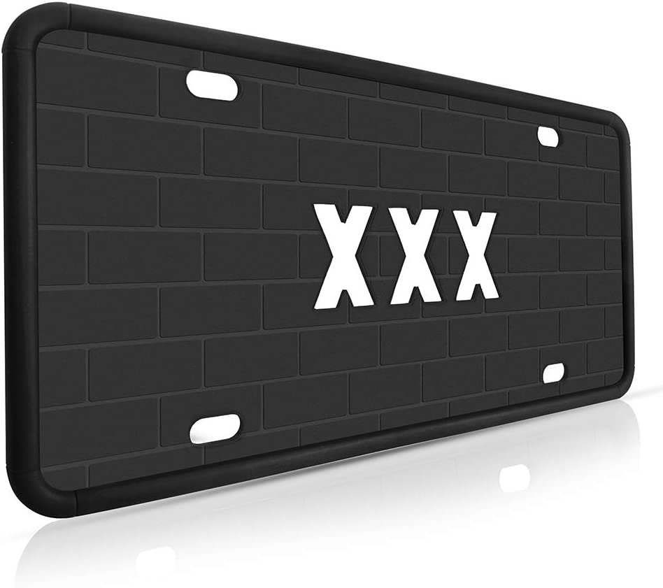JIWINNER Silicone License Plate Frame - Premium Universal Car License Plate Holder with Drainage Holes - Modern, Rust-Proof, Weather-Proof and Rattle-Proof License Plate Frame for Car