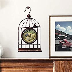 Espresso Creative Birdcage Shaped Desk Clock Table Shelf Clock with Antique Retro Rustic Distressed Style Analog Cute 13.8 Height Farmhouse Decor