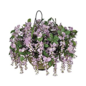 House of Silk Flowers Artificial Purple Wisteria Hanging Basket [Kitchen]