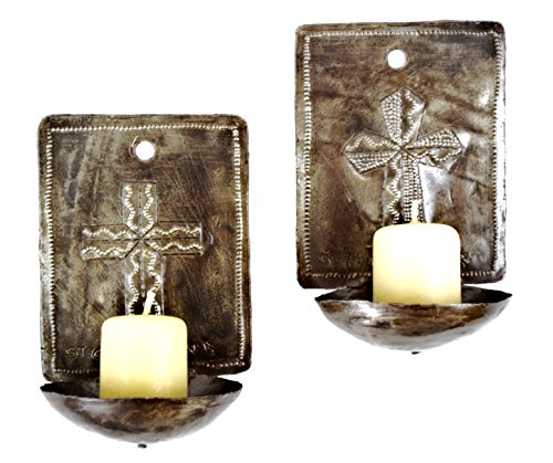 "Handmade Haitian Metal Cross Wall Candle Sconces (set of 2) Candles Not Included 4"" x 6"" x 3"""