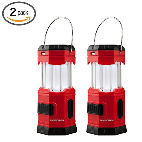 "TANSOREN LED Solar USB Rechargeable 180 Lumens Waterproof Camping Lantern Portable Emergency with ""S"" Hook (2-Pack)"