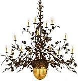 Meyda Tiffany Greenbriar Oak 16 Arm 2 Tier 19-Light 100 Wide Grand Chandelier