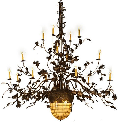 Meyda Tiffany Greenbriar Oak 16 Arm 2 Tier 19-Light 100 Wide Grand Chandelier