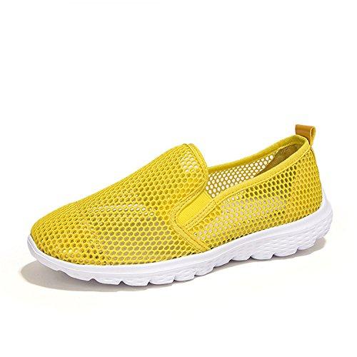 Baqijian Womens Flats Casual Flat Platform Mesh Solid Ultralight Shoes free shipping