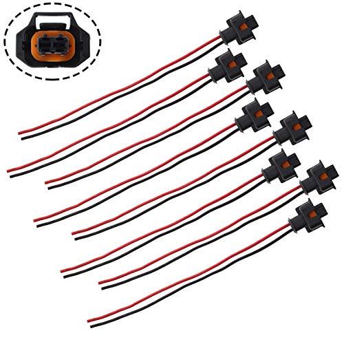 MOTOALL 8pcs Fuel Injector Connector Wire Harness Pigtail for 6.6L Duramax LLY LBZ LLM Buick Cadillac Hyundai Kia Pontiac Saab Saturn Suzuki Crank Position Coolant Oil Temp Fuel Pump Knock Sensor