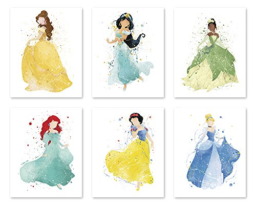 Princess Wall Decor Poster Art Prints - 8x10 Watercolor Painting Paper - Set of Six - Ariel Jasmine Cinderella Snow White Belle Tiana - Great Room Nursery Decorations P34 by PGbureau -