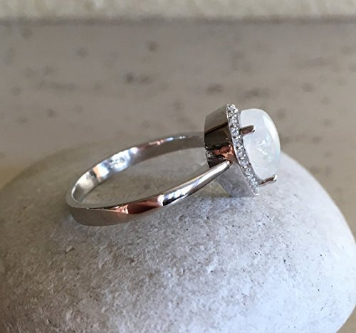 Pear Shape Moonstone Ring- Rainbow Moonstone Promise Ring- Halo Moonstone Engagement Ring- June Birthstone Ring- Sterling Silver Ring