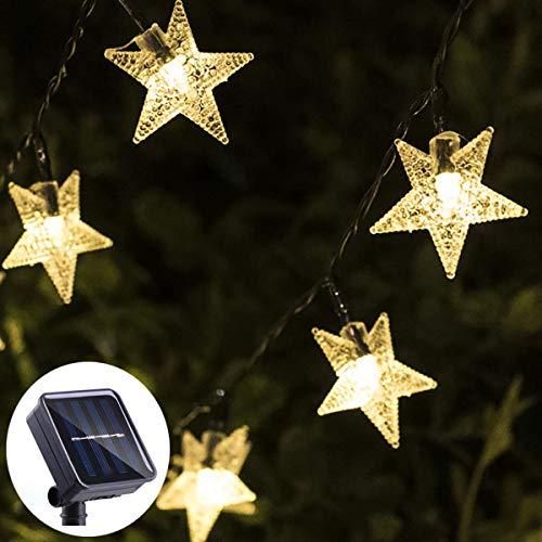 Urshine 30.6FT 50 LED Solar String Lights Outdoor Waterproof, Warm White Solar Star Fairy Lights Outdoor Decor for Backyard, Garden, Xmas Tree, Patio Umbrella, Porch Decor