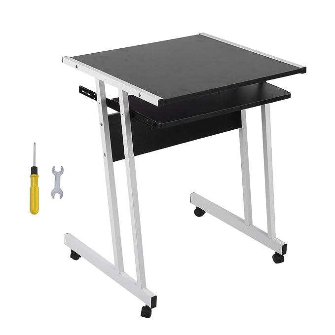 Pudincoco Rolling Laptop Table Durable Oficina de la computadora ...