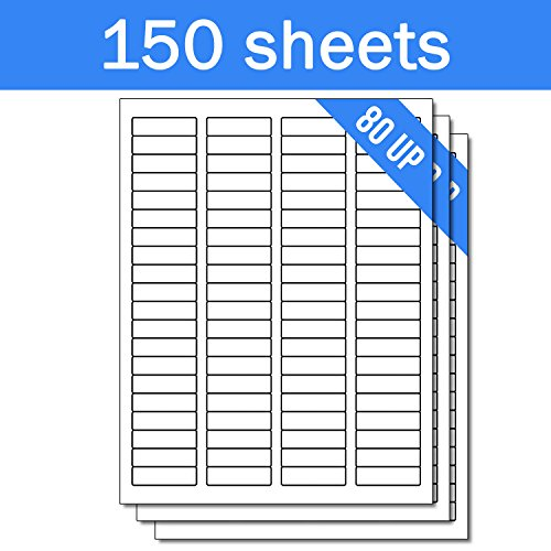 OfficeSmartLabels Rectangular 1/2 x 1-3/4 Return Address Labels for Laser & Inkjet Printers, 0.5 x 1.75 Inch, 80 per sheet, White, 12000 Labels , 150 - Sheet Return