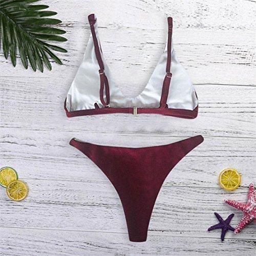 Sexy Da Push Costume Bagno Donna Rosso Donna Up Bikini Donna Costume Due Bluestercool Pezzi Set Scuro aqHwda