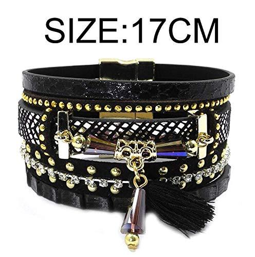 Authentic Hermes Leather Bracelet - fun-ttore Lovely 17 New Leather Bracelet Tassel Crystal Bohemian Bracelets Bangles for Women Jewelry Wholesale,black18cm,13.0Centimeters