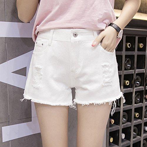 Shorts Blanco Pantalones Wild Las Faldas Loose Summer Burr Ancha Bf Cortos Cintura Mezclilla Yyjzjw Agujeros De Alta Mujeres Señoras Pierna A1qwn5H