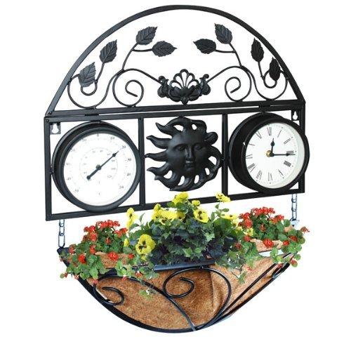 Bonnington Plastics Gartenuhr und Thermometer mit Korb
