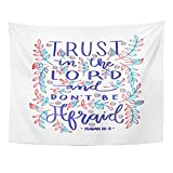 Emvency Tapestry Faithful Trust in The Lord Bible Verse Hand Lettered Quote Modern Calligraphy Christian Gospel Home Decor Wall Hanging for Living Room Bedroom Dorm 60x80 inches