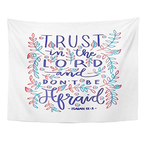 Emvency Tapestry Faithful Trust in The Lord Bible Verse Hand Lettered Quote Modern Calligraphy Christian Gospel Home Decor Wall Hanging for Living Room Bedroom Dorm 60x80 inches by Emvency