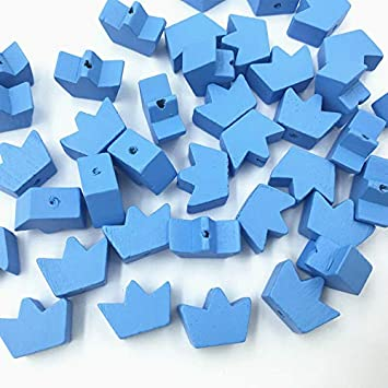 Blue Crown Wooden Beads Spacer Bead DIY Pacifier Clip making Kids Toys 18mm