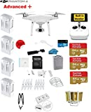 DJI Phantom 4 ADVANCED+ Quadcopter Drone with 1-inch 20MP 4K Camera KIT + 4 Total DJI Batteries + 3 64GB Micro SDXC Cards + Reader + Prop Guards + Range Extender + Charging Hub + Harness