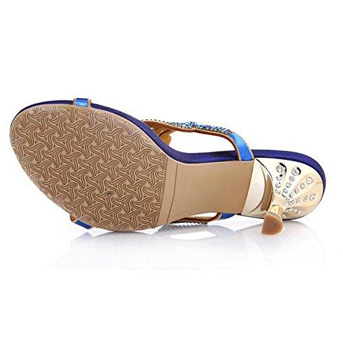 Diamant Dames Strass xie Sandales Été Bouche Blue Mode Fleur Poisson de Sandales Femmes Creux Nouveau Diamant wpqxOapAzn
