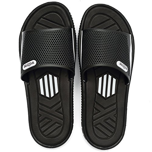 welltree Men's Slide Slipper Shower/Pool/Beach/Garden Quick Drying Sandal 10 D(M) US Men/44 Black