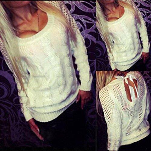 Malloom® les femmes cardigan à manches longues lâche tricot sans dossier pull manteau tricot de vêtements d'extérieur