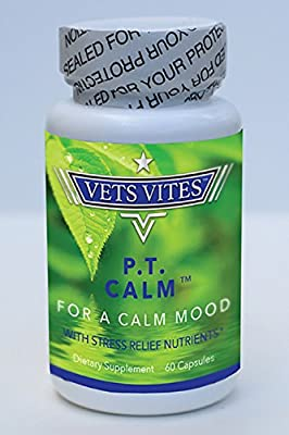 Vets Vites P.T. Calm: Herbal Stress-Reducing Supplement for Anxiety and Panic (60 Capsules)