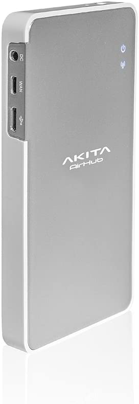 Akita airhub; multifuncional 16GB disco duro y red Wifi Router para hasta 8dispositivos; incluye 2600mAh Banco de la energía–Silver