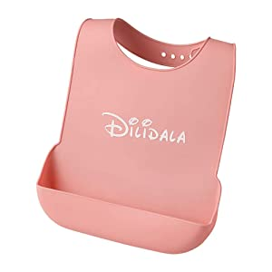DEBON Adult Silicone Bibs for Eating, Adjustable Waterproof Reusable Bibs for Seniors Elderly Disabled Patients with Large Food Catcher Pocket, BPA Free Durable Soft Bib, Easily Wipe Clean (Pink)