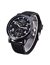 Mens Quartz Watch with 2 Small Dial Leather Band Wristwatch