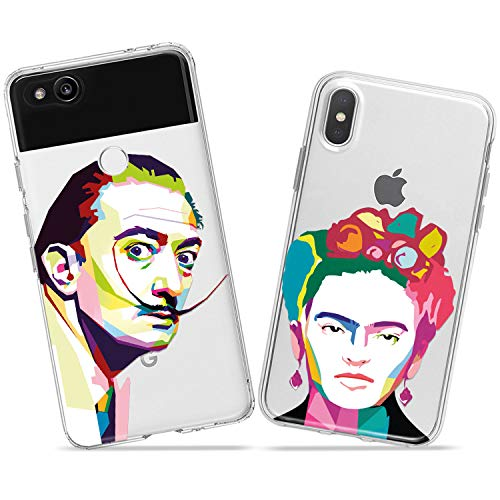 Wonder Wild Salvador and Frida Couple Case iPhone Xs Max X Xr 10 8 Plus 7 6s 6 SE 5s 5 TPU Clear Gift Apple Phone Cover Print Protective Double Pack Silicone Famous Painters Colorful Matching Love]()