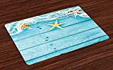 Ambesonne Starfish Place Mats Set of 4, Rustic Wood Boards Fishing Net and The Ocean Animals Nautical Print, Washable Fabric Placemats for Dining Room Kitchen Table Decor, Turquoise White Orange