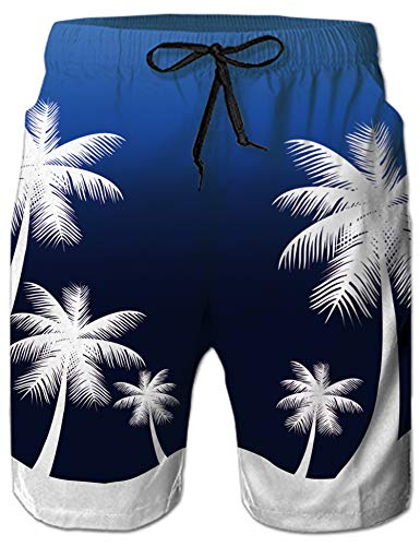 Mens Big & Tall Swim Trunks Blue White Hawaiian Aloha Coconut Tree Beachwear Surfing Board Shorts Bathing Suits for Men Male Boy Quick Dry Swim Shorts with Mesh Lining,Large,Hawaiian Palm Tree