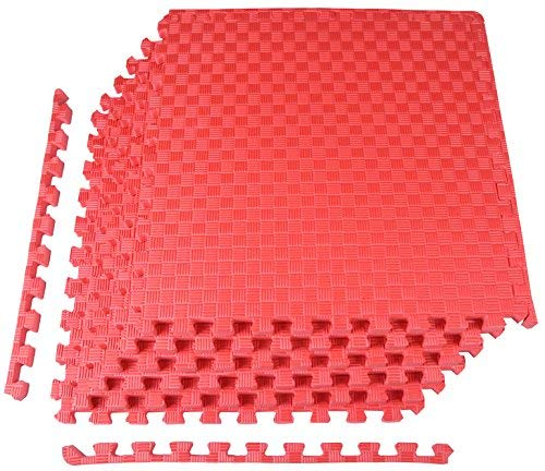 BalanceFrom 1'' Extra Thick Puzzle Exercise Mat with EVA Foam Interlocking Tiles for MMA, Exercise, Gymnastics and Home Gym Protective Flooring (Red)