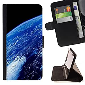 BullDog Case - FOR/Sony Xperia Z1 Compact D5503 / - / earth atmosphere blue planet space ocean /- Monedero de cuero de la PU Llevar cubierta de la caja con el ID Credit Card Slots Flip funda de cuer