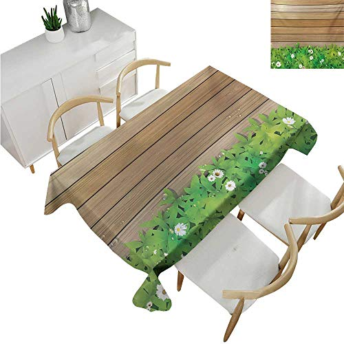 familytaste Flower,Outdoor Tablecloth,Daisy Leafs and Water Droplets Wood Fence Spring Nature Themed Computer Drawing,Tablecloth for Wedding 54