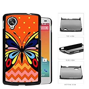 Colorful Art Butterfly with Orange Polka Dot and Chevron Pattern in Background Hard Snap on Phone Case Cover Lg Google Nexus 5