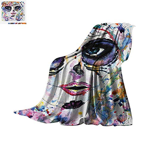 Sugar Skull Super Soft Lightweight Blanket Halloween Girl with Sugar Skull Makeup Watercolor Painting Style Creepy Look Custom Design Cozy Flannel Blanket 50
