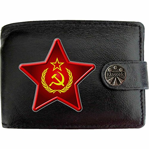 Klassek Herren Geldbörse Portemonnaie Kommunismus echtem Leder schwarz Geschenk Präsent Metall Box
