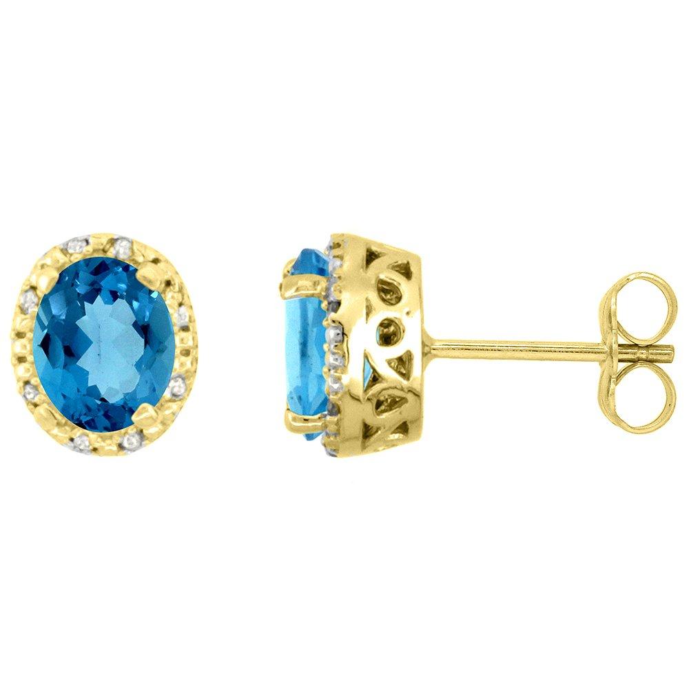 10K Yellow Gold Diamond Halo Natural London Blue Topaz Stud Earrings Oval 7x5 mm