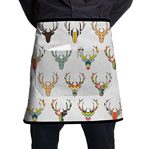 Kjiurhfyheuij Half Short Aprons Deer Heads Waist Apron With Pockets Kitchen Restaurant For Women Men Server -